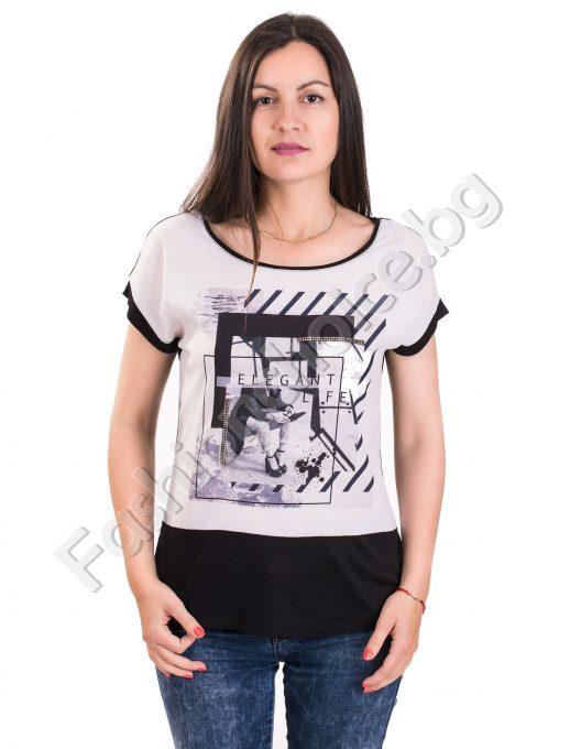 Лятна дамска блуза с щампа и надпис в черно