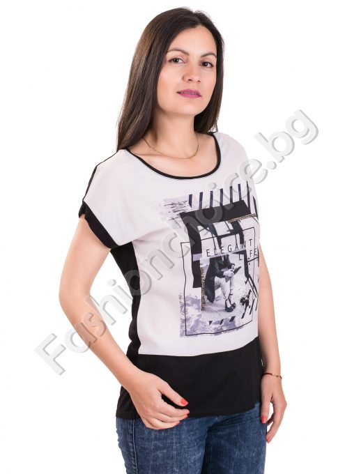Лятна дамска блуза с щампа и надпис в черноЛятна дамска блуза с щампа и надпис в черно