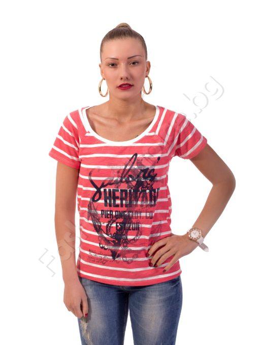 Дамска памучна блуза на райета Код 325-5