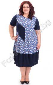 Кокетна макси рокля на точки в тъмно син цвят