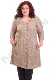 Дамска рокля с цяло закопчаване в големи размери
