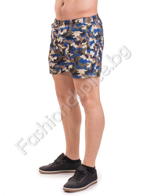 Мъжки къси панталони тип шорти в актуален камуфлажен десен