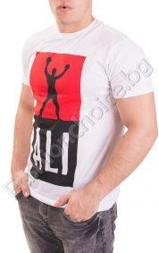 Бяла памучна мъжка тениска с ефектна щампа в предната част