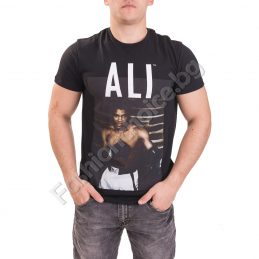 Памучна мъжка тениска с щампа на боксьор в черно