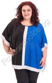 Красива дамска блуза тип пончо в три десена /големи размери/