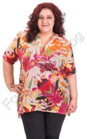 Памучна блуза с якичка в три цветни десена /големи размери/