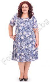 Разкошна дамска рокля в два нежни цвята /4XL, 5XL/
