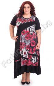 Дълга дамска рокля с флорални мотиви в голям размер