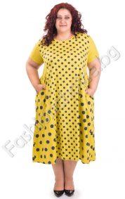 Дълга лятна дамска рокля на точки в големи размери