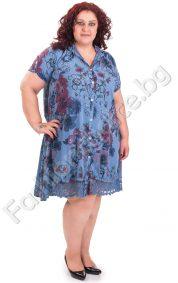 Разкроена дамска рокля тип риза с дантела в големи размери