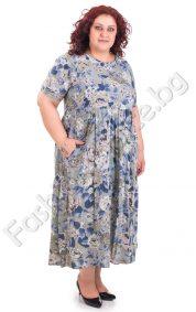 Флорална лятна рокля за пухкави дами в пет летни цвята
