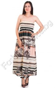 Дълга дамска рокля от сатен с ластично бюстие