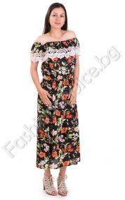 Ефирна дамска рокля с голи рамене в три флорални десена