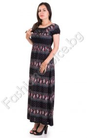 Дълга лятна дамска рокля на абстрактни фигури