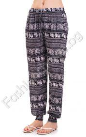Летен панталон с набор на глезените в черно и тъмно синьо