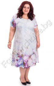 Нежна дамска рокля с флорални мотиви /голям размер/