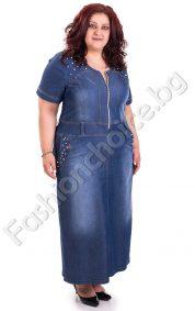Дълга дънкова рокля с цип и джобчета в голям размер