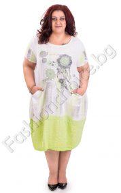 Памучна рокля в два летни цвята /големи размери/