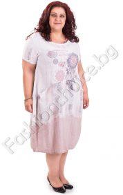 Памучна рокля в два летни цвята /големи размери/Памучна рокля в два летни цвята /големи размери/