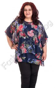 Кокетна блуза тип пончо в десен на цветя /4XL, 5XL/