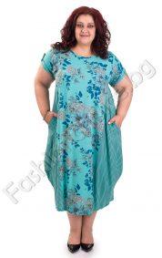 Разкошна дамска рокля в 6 флорални десена /големи размери/