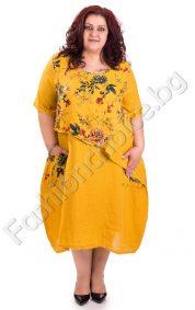 Ленена рокля за по-пухкави дами на цветя