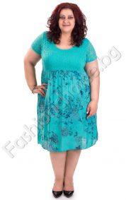 Лятна дамска рокля с флорални мотиви и дантела /голям размер/