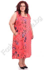 Дълга ленена дамска рокля в четири десена /големи размери/