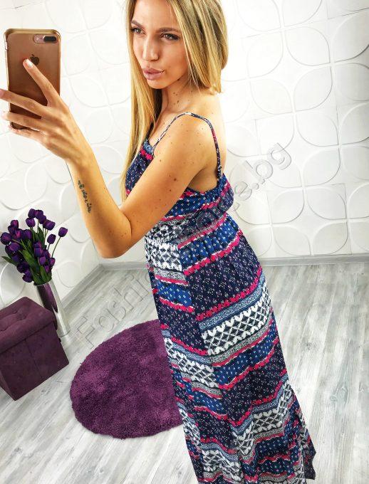Лятна дамска рокля в два цвята с тънки презрамки