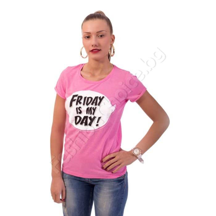 Дамска блуза от памук с надпис Код 325-7