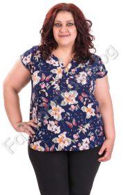 Дамска блуза в големи размери с цветя и пеперуди