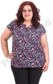 Лятна дамска блуза на цветя със столче яка / голям размер/