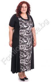 Ефектна дамска рокля в черно-бял десен /4XL, 5XL/