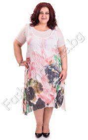 Асиметрична памучна рокля от две част /голем размер/