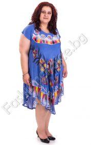 Асиметрична лятна рокля в шест цвята в големи размери