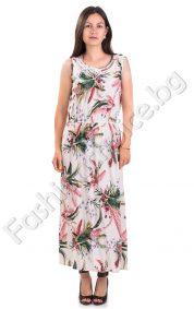 Дамска дълга рокля с широка презрамка с флорални мотиви