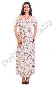 Ежедневна дълга дамска рокля с ластик и връзка в горната част