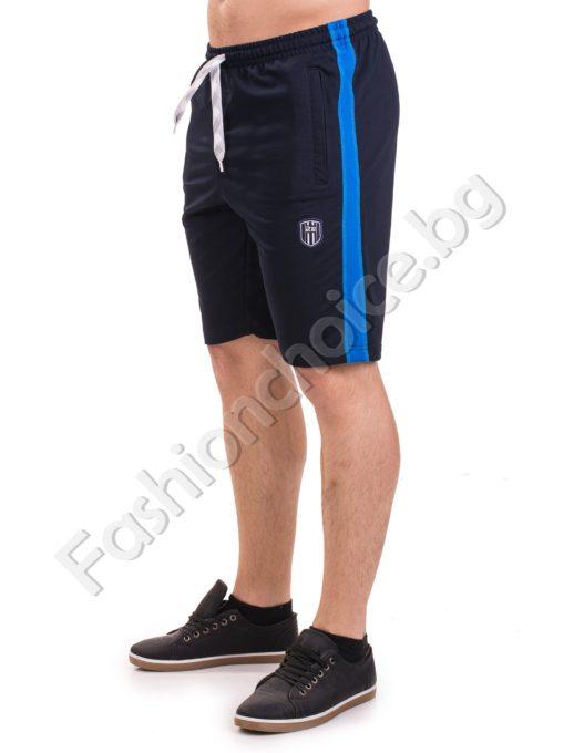 Мъжки къси панталони от трико с кант отстрани в четири цвята