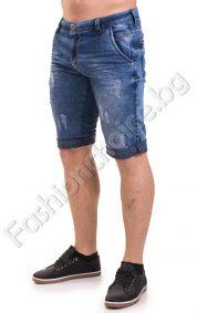 Мъжки къси дънкови панталони с изтъркан ефект