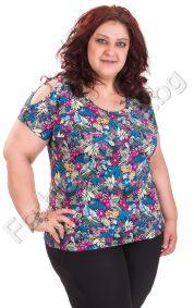 Флорална дамска блуза с отвор на раменете / голям размер/