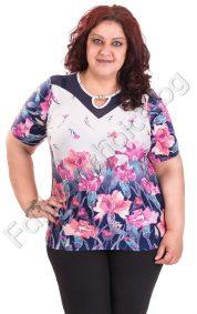 Кокетна дамска блуза с перличка на цветя / голям размер/