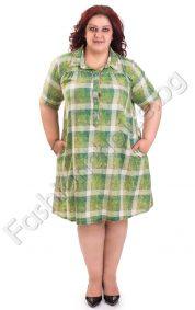 Красива разкроена рокля в зелено каре /големи размери/