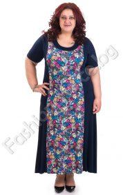 Дълга рокля в големи размери с флорални мотиви