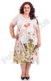 Лятна памучна рокля от две част в големи размери