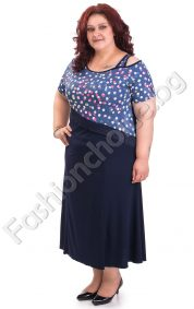 Разкошна рокля с голо рамо на точки в големи размери