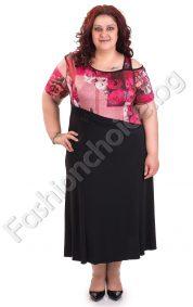 Флорална дамска рокля с ефектно голо рамо /голям размер/