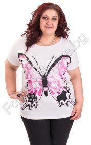Страхотна дамска блуза с голяма пеперуда от 2XL до 6XL