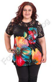 Разкошна дамска блуза с красиви цветя и дантела/3XL,4XL/
