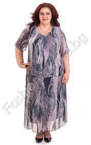 Шифонен дамски костюм в светло лилаво/макси размери/