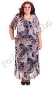 Елегантен костюм за макси дами от шифон в два десена